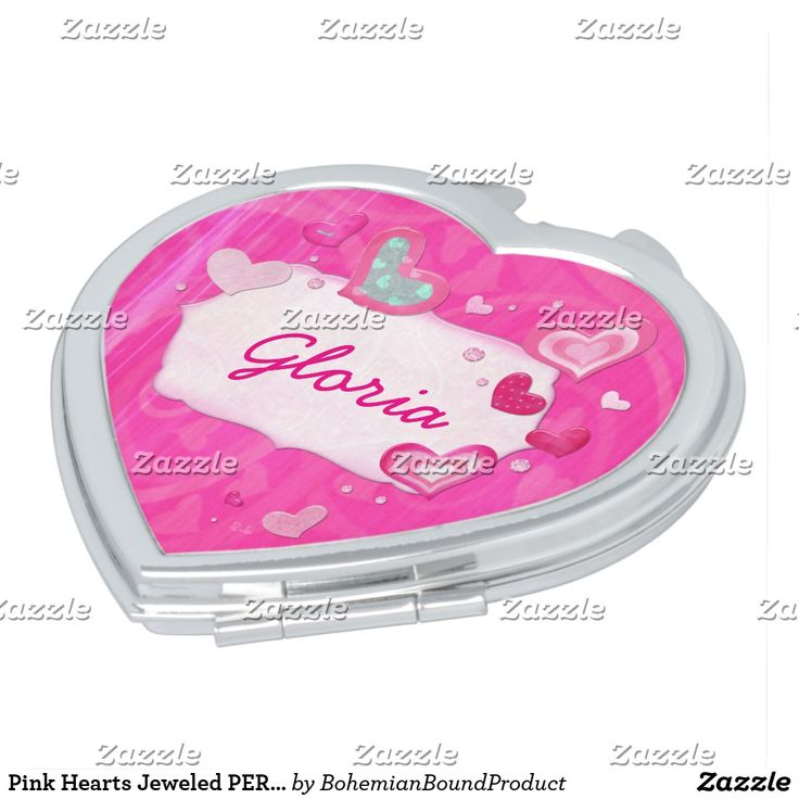 Pink Hearts Jeweled PERSONALIZED TWEEN Mirror For Makeup