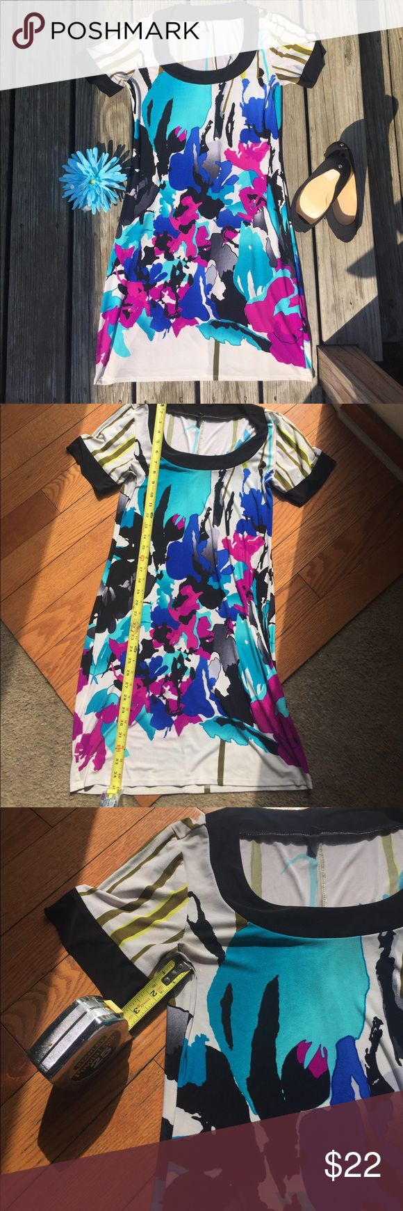 "💖 Versatile Fun & Classy Multi Color Dress! 💖 Perfect dress for the office, date night, or any time you want to add a splash of color to the occasion!  Colors are teal, blue, dark purple/pink, some camo green with black trim and scoop neck.  Approx 35"" length and 3.5"" inseam on arms. Tiana B Dresses"