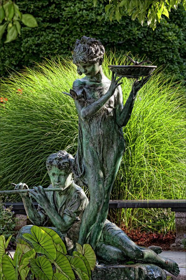 Secret Garden: The Secret Garden Memorial Statue And Bird Bath