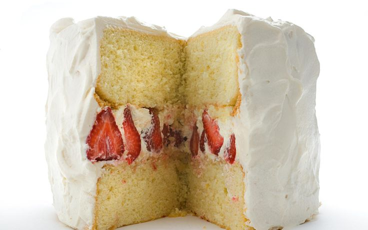 Strawberries pair with mascarpone, sweet whipped cream, and a light chiffon cake with a hint of lemon.