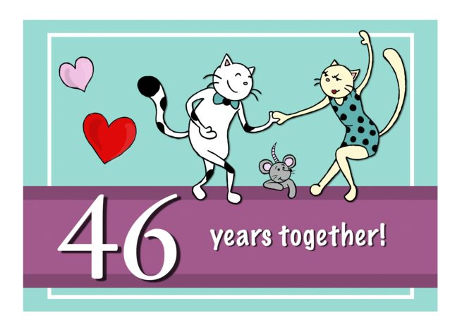 Happy 46th Wedding Anniversary Two Cats Dancing Card Ad Spon Wedding Happy 22nd Wedding Anniversary 18th Wedding Anniversary 46th Wedding Anniversary