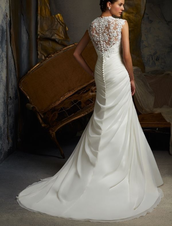 Lace Wedding Gowns With Cap Sleeves : Organza sweetheart neckline mermaid wedding dress with