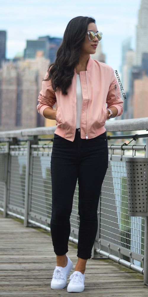 Pink Long Sleeve Pockets Zipper Jacket