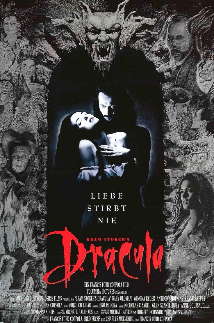 """Film: Bram Stoker's Dracula (1992) Year poster printed: 1992 Country: Germany Size: 23"""" x 33"""" This is an original, unfolded German A1 movie poster from 1992 for Bram Stoker's Dracula starring Gary Old"""