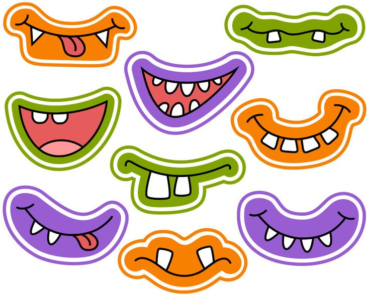 Halloween Monster Grins Digital Clip Art, Cute Monster Smiles, Monster Faces, Monster Printable Photo Booth Props, Instant Download - YDC107 by YarkoDesign on Etsy https://www.etsy.com/listing/248822577/halloween-monster-grins-digital-clip-art