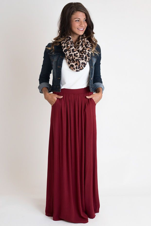 Love the Burgundy Maxi Skirt and animal print scarf!