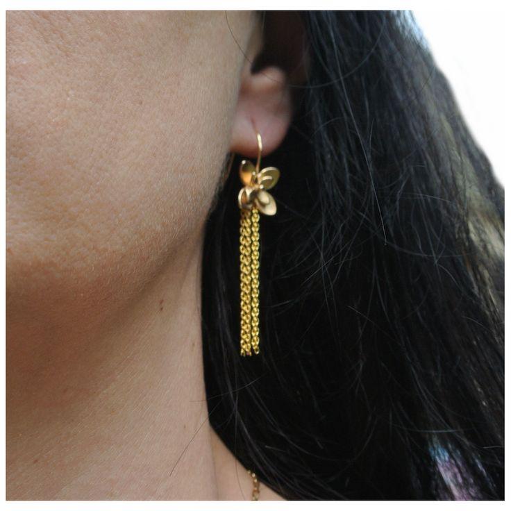Boucles d'oreilles dorées pompon chainette