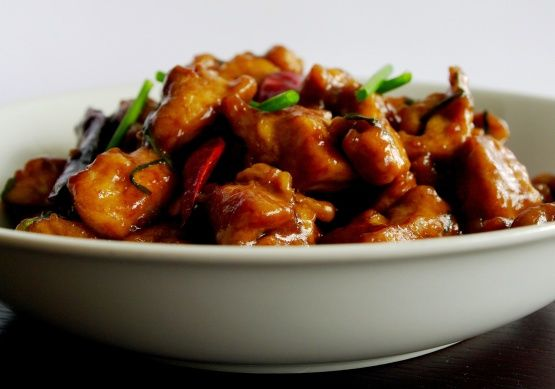 Smoky Hot Chicken Stir-Fried With Dried Red Chillies And Green G Recipe - Chinese.Food.com