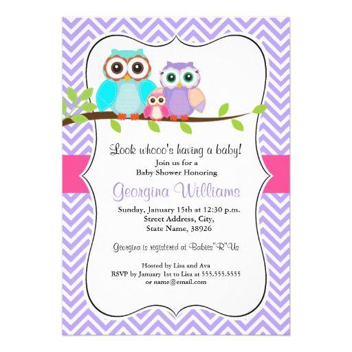 Cute Owl Girl Baby Shower Invitation Pink U0026 Purple