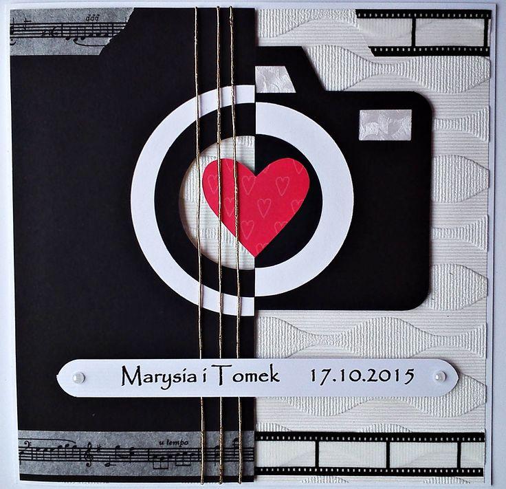 Kartka ślubna z motywem gitary i aparatu