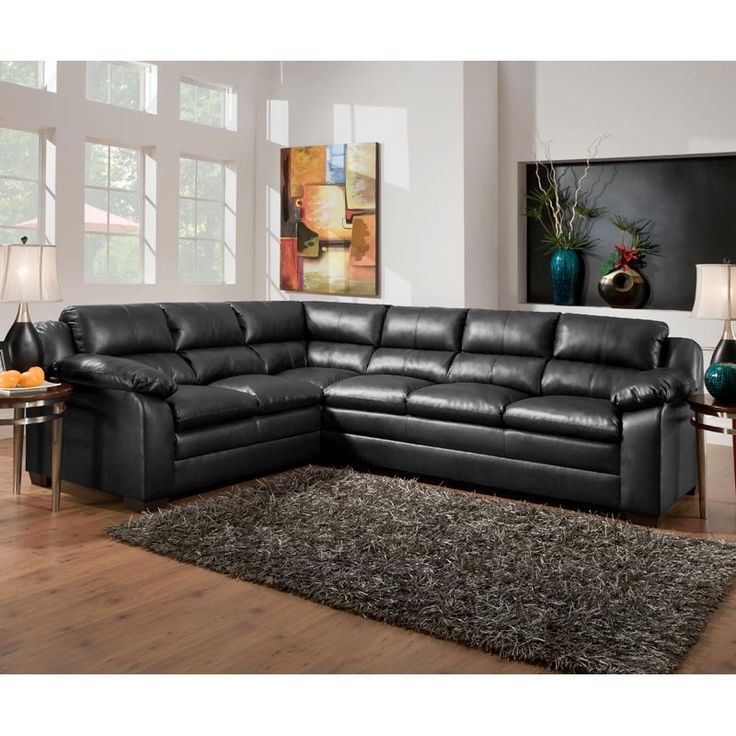 A black bonded leather sectional from Simmons is contemporary and comfy. Simmons Tucker Bonded 2  sc 1 st  Pinterest : weekends only sectionals - Sectionals, Sofas & Couches
