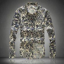Hombres de la primavera ropa más tamaño 6XL ropa de marca de lujo hombres de la camisa de manga larga de lino delgado ocasional camisa floral de hombre 8 colores