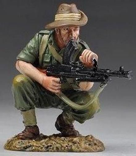 WORLD WAR II PACIFIC RS006 ALLIED BREN GUNNER ( RETIRED 5 LEFT IN STOCK ) - Price: $60.00 Thomas Gunn Military Miniatures and Models. Factory made, hand assembled, painted and boxed in a padded decorative box. Excellent gift for the enthusiast.