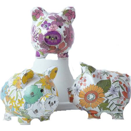 """Happiness Is A Pretty Penny Saved!  Cute Ceramic Piggy Banks Are 6 x 5""""; $11.95 Each On 3.21.12.  This Chelsea Collection Is Fab Floral Fun."""