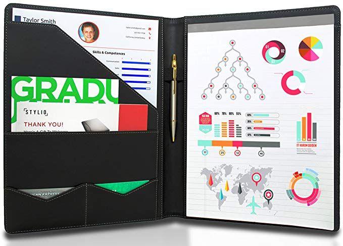 Stylio Padfolio Resume Portfolio Folder Interview Legal Document Organizer Business Card Holder With Le Business Card Organizer Padfolio Accent Stitching