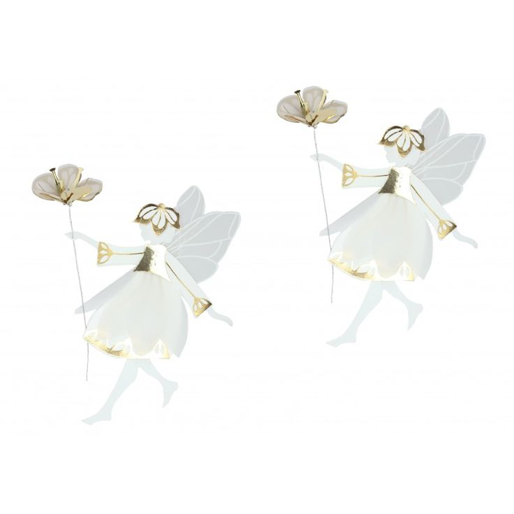 White & Gold fairies with flowers, Small