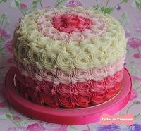 tarta de vainilla y frambuesa (ombre cake)