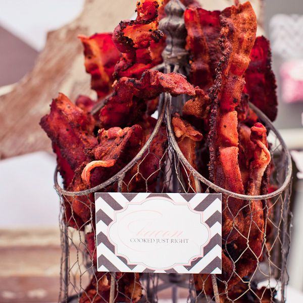 This is a bridal shower brunch, and I can't eat most of the food. BUT this basket of bacon looks delicious.