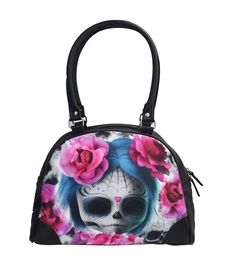 Liquorbrand Goth Emo Sonhos Escuros Sugar Skull Doll Vegan Bowling Handbag Purse