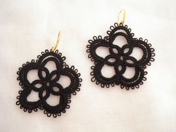 Black lace flower earrings Tatting lace earrings Needle by Poppyg