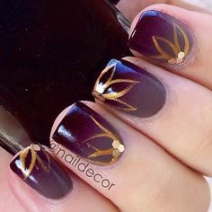 Purple with gold. Instagram photo by naildecor #nail #nails #nailart