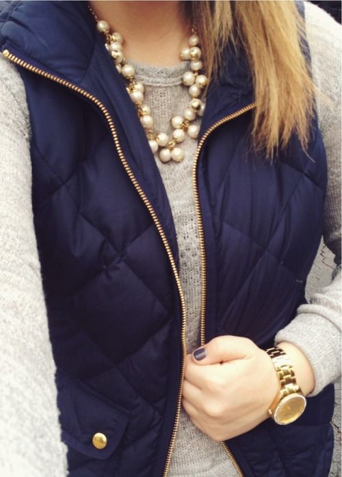 jcrew navy puffer vest, pair with a sweater & jewels
