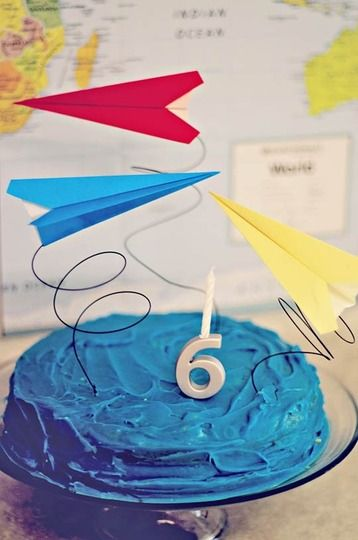 Best Kids Parties: Airplanes My Party - cute cake idea, could use other paper items springing out of the cake.