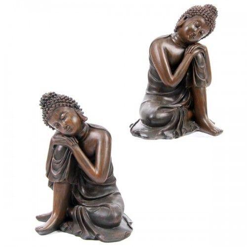 Decorative Wood Effect Buddha Figure Resting on Knee (BUD111) by www.goldengoosegifts.co.uk