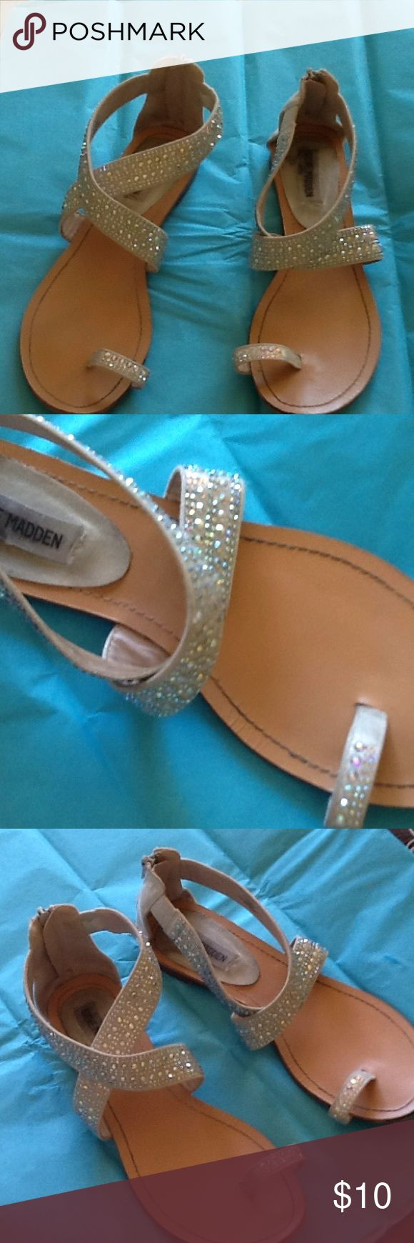 Cute summer sandals slightly worn Cute sandals that zip up the back  Very neutral to go with any summer outfit Steve Madden Shoes Sandals