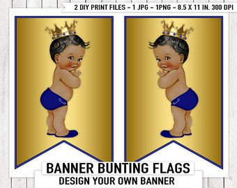 Azul oro Príncipe bebé ducha bandera del empavesado banderas étnicas Príncipe Baby Shower