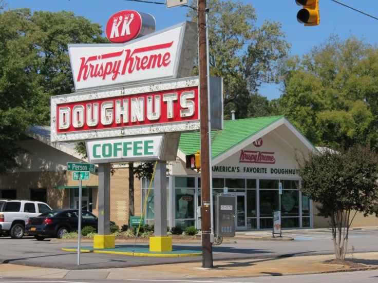 Krispy Kreme Person St, Raleigh NC - one of the bakeries not just stores. Nothing better than going there in the morning and getting warm glazed doughnuts. Sweet clouds of Heaven!