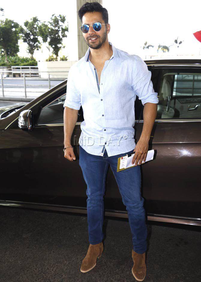 Varun Dhawan at the Mumbai airport. #Bollywood #Fashion #Style #Handsome
