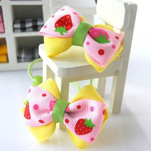 Strawberry Bow Hair Ties