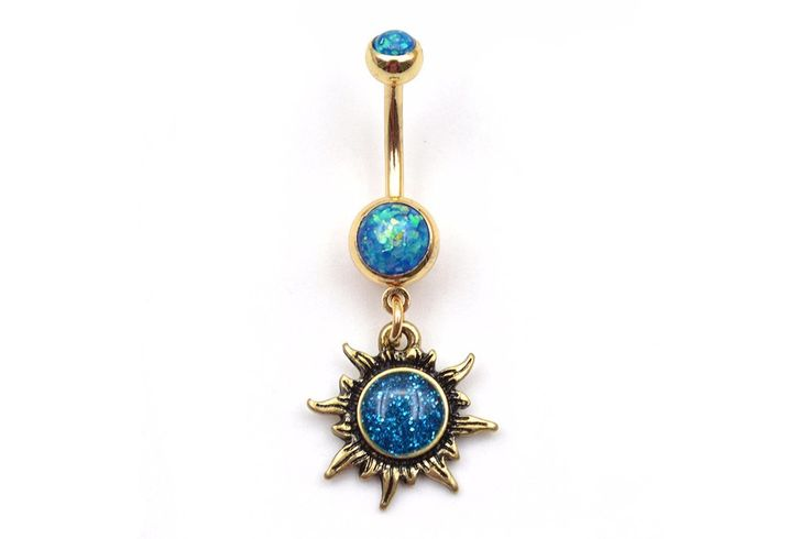Perfect Christmas Gifts for the Pierced !    - Opal Belly Button Rings - Sun Navel Piercing - MyBodiArt.com