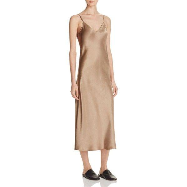 Vince Satin Slip Dress ($290) ❤ liked on Polyvore featuring dresses, khaki, vince dresses, khaki midi dress, beige midi dress, calf length dresses and satin slip dress