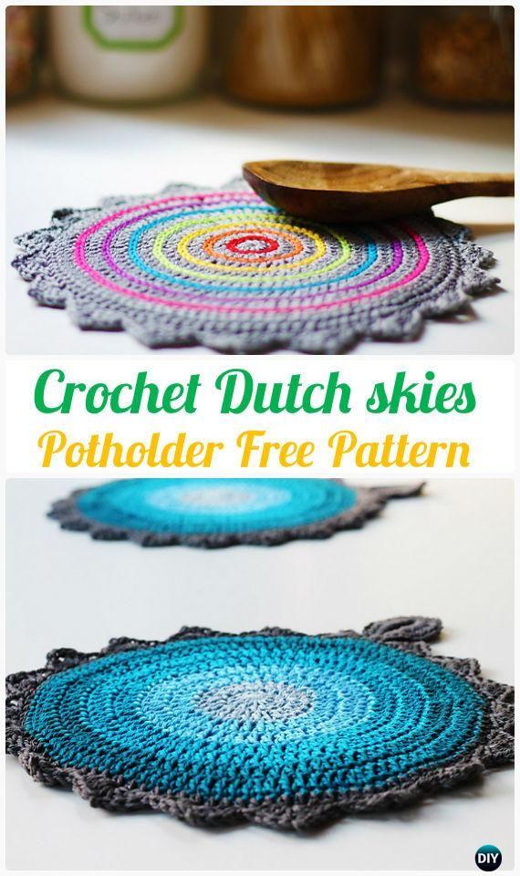 Crochet Dutch skies Potholder FreePattern - #Crochet Pot Holder Hotpad Free Patterns