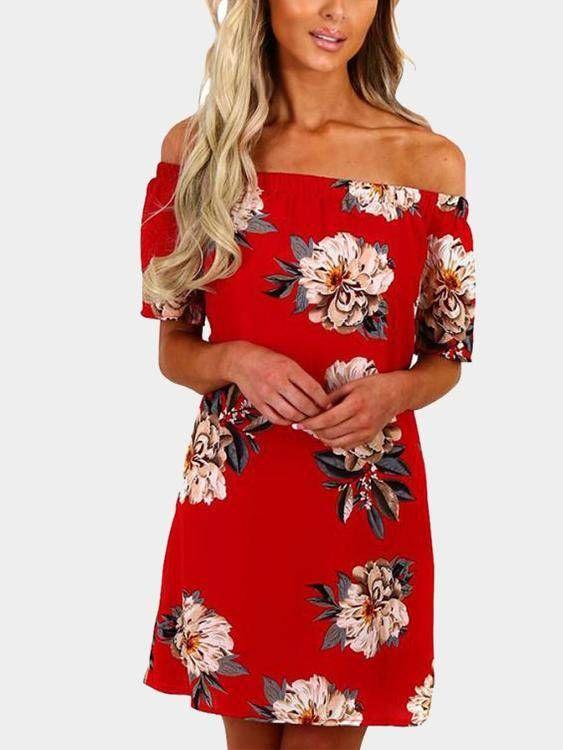 5157f828998e Red Off Shoulder Random Floral Print Short Sleeves Dress
