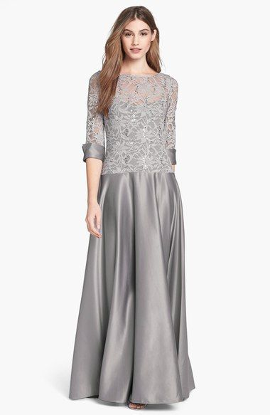 JS Collections V-Back Lace & Satin A-Line Gown (Petite) available at #Nordstrom