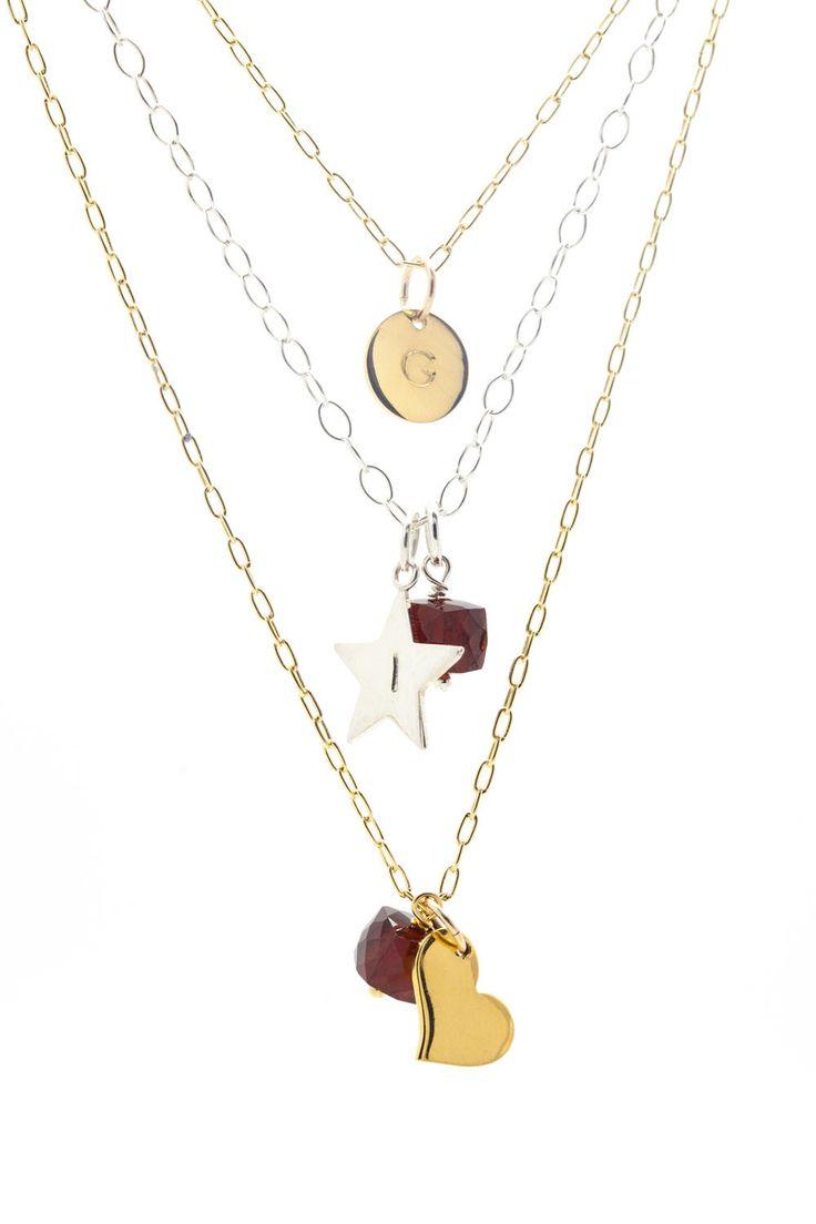January Birthstone Necklace, Garnet Necklace, Birthstone Custom Necklace, Birthstone Disc Necklace, Birthstone Jewelry, Dainty, Gift, Women by ILgemstones on Etsy