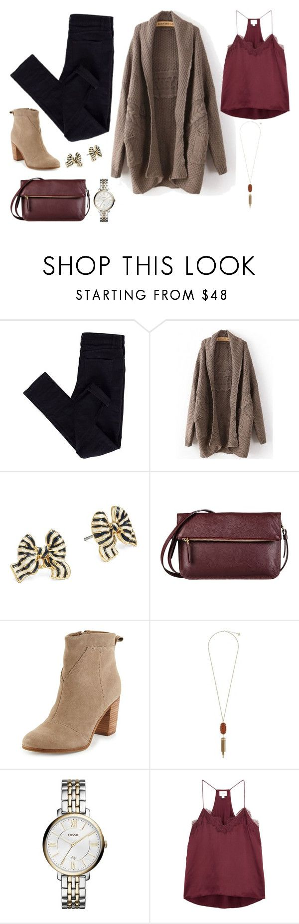 """Untitled #14048"" by beatrizibelo ❤ liked on Polyvore featuring Kate Spade, 8, TOMS, Kendra Scott, FOSSIL and Cami NYC"