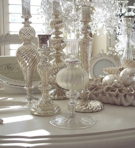 Best Mercury Glass Decorating Images On Pinterest Christmas