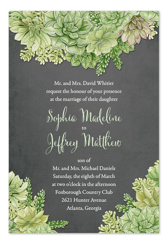 Airplants - succulents, chalkboard invitation for rustic weddings by Invitation Consultants