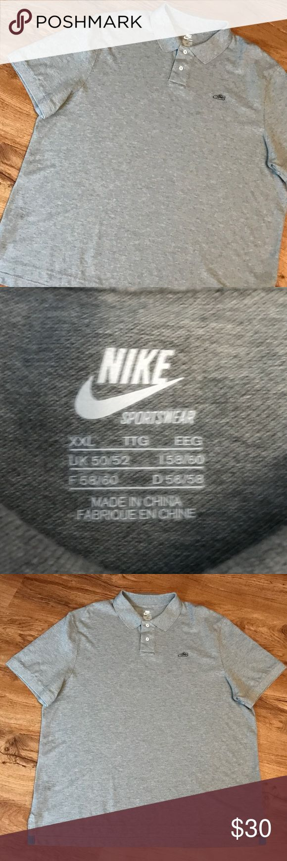 RARE NIKE AIR MAX POLO SHIRT embroidered shoe NIKE SPORTSWEAR Air Max polo shirt, slim fit gray shirt with white trim, white with blue Air Max shoe embroidered emblem on breast. Tagged Men's XXLarge, dimensions below. Nice condition, no holes, rips, or stains. Nike Shirts Polos