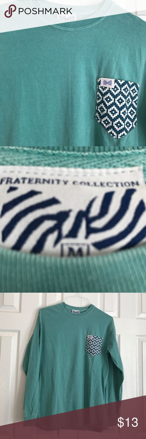 Fraternity Collection washed out green pocket tee Size medium. Long sleeve green tee shirt with pattern pocket fraternity collection Tops Tees - Long Sleeve