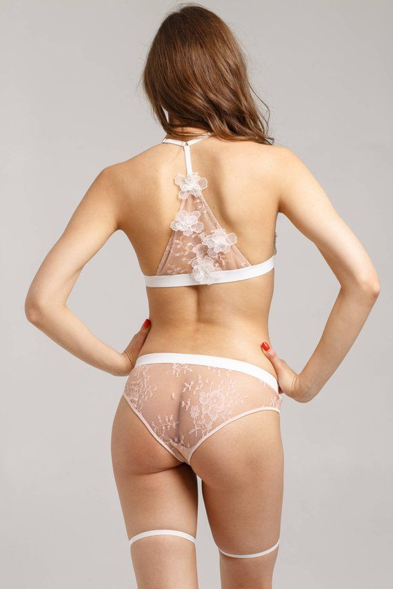 b2393b5816fd8 Sheer lingerie set - transparent lingerie set - transparent bra -  transparent panties - harness ling