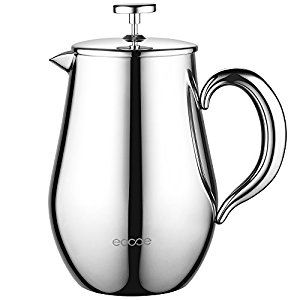 $30.99 Ecooe Double Wall French Press Coffee Tea Maker Coffee Press Pot With Stainless Steel (1 liter, 34 oz)
