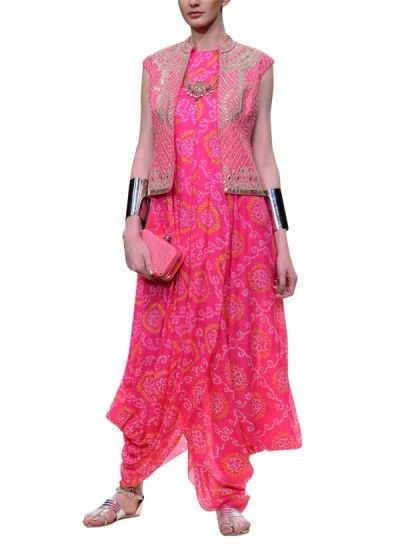 Jaipur Bandhani Gown Vest by Anita Dongre | New Bridal Collection | Indian Designers