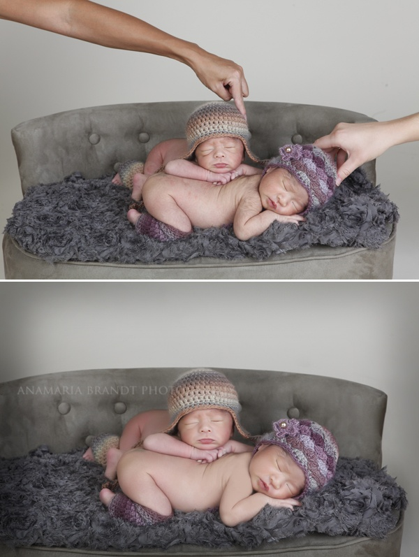 A sneak behind the scenes at a newborn twin session by Ana Brandt.