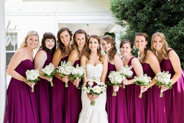 Magenta bridesmaid dresses rom Franklin TN wedding http://www.trendybride.net/magenta-franklin-tennessee-wedding/ #trendybride