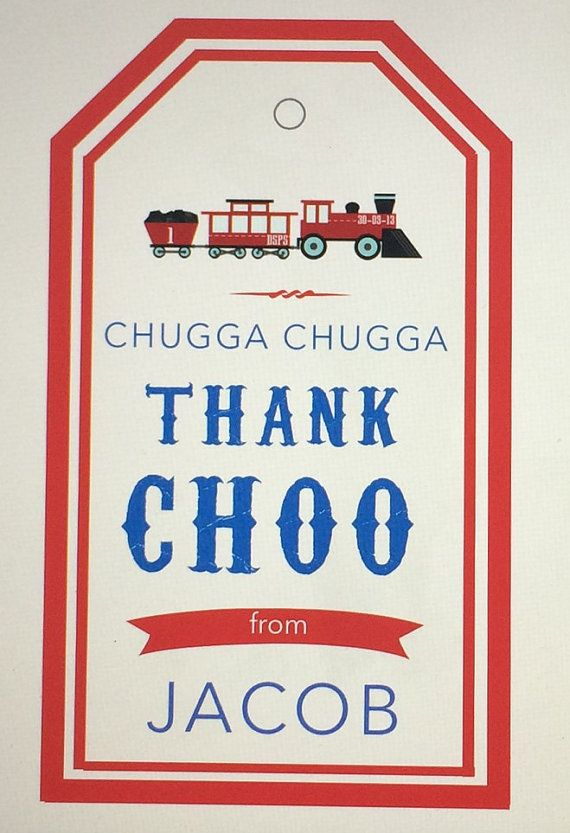 Thank Choo Tags for Luggage Gift Bags - Vintage Train Birthday Thank You Tags Printable by PaperAndTaigh